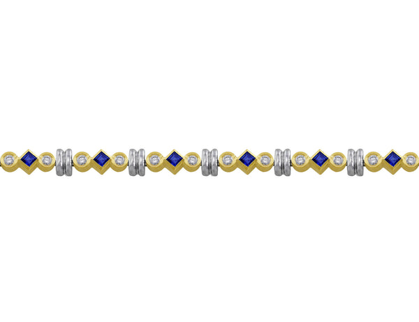 14kt Yellow Gold Princess Sapphire & Diamond Bracelet