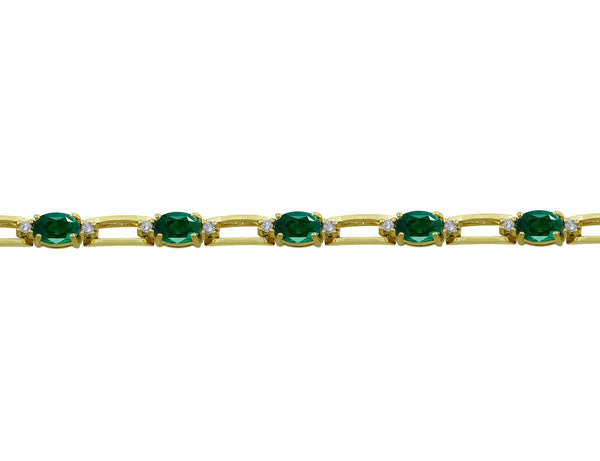 14kt Yellow Gold Diamond & Emerald Tennis Bracelet