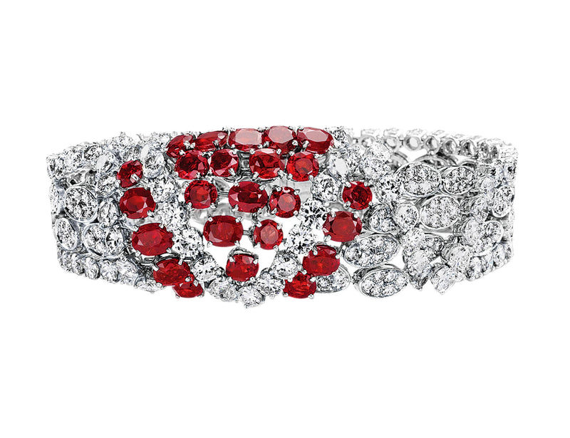 Estate 60's Ruby Diamond Bracelet in 18k white gold
