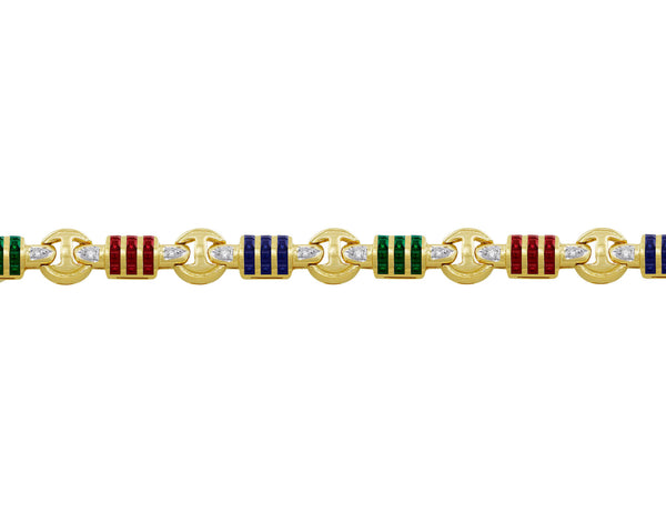 14kt Yellow Gold Diamond, Sapphire, Emerald & Ruby Bracelet