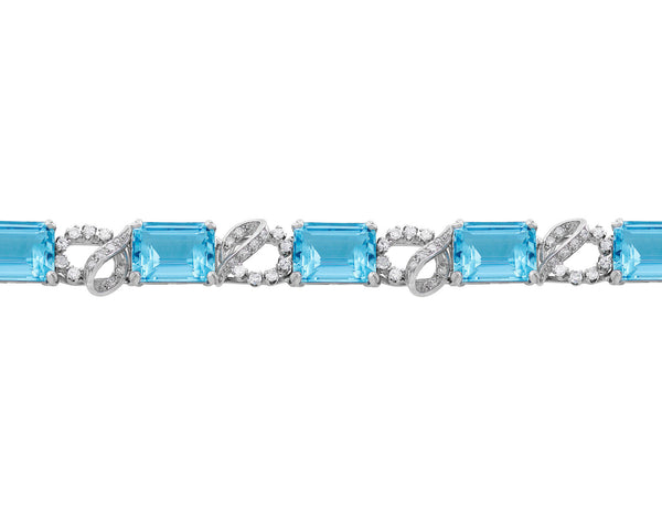 Platinum Aquamarine & Diamond Bracelet