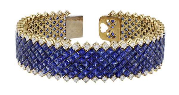 Invisible Set Sapphire Diamond Bracelet