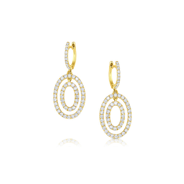 ODELIA 18KT YELLOW GOLD DIAMOND DOUBLE OVAL EARRINGS