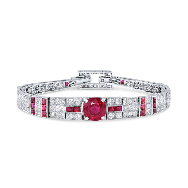 CARTIER 1920'S BURMESE RUBY DIAMOND BRACELET, AGL CERTIFIED - ESTATE