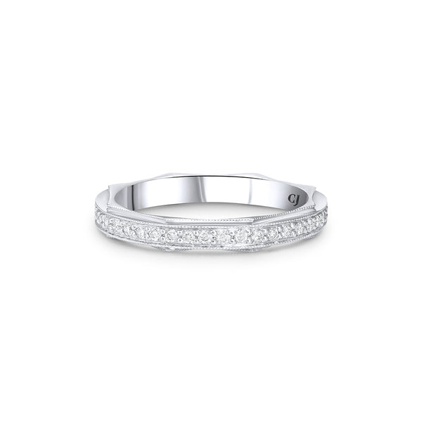 18K WHITE GOLD OCTAGON CLASSIC PAVE SETTING