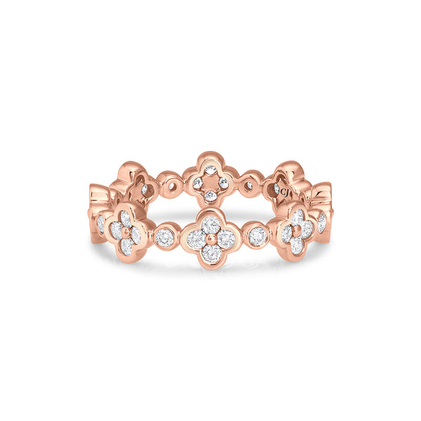 18KT ROSE GOLD FLOWER DIAMOND ETERNITY BAND