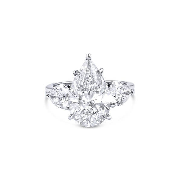 """Tiffany"" Set 5.08Ct Pear Diamond Ring - Estate"