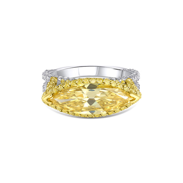 Rivière 2ct Fancy Intense Yellow Marquise Diamond Ring, GIA Certified