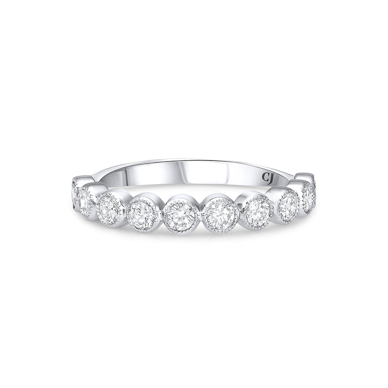 18K WHITE GOLD HALFWAY DIAMOND BAND