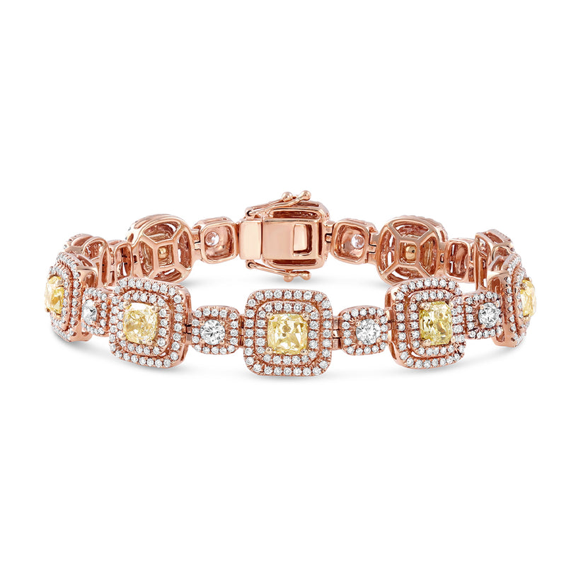 18kt Rose Gold Fancy Yellow Diamond Bracelet, GIA Certified