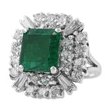 4ct Emerald Diamond Estate Ring in 14k white gold