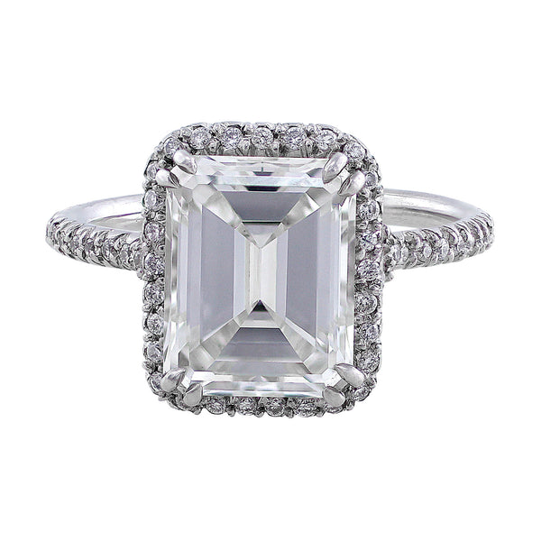 3ct Emerald Cut Estate Riviera Diamond Ring