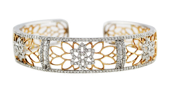 White and Rose Gold Diamond Cuff