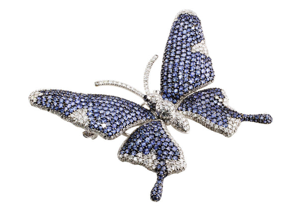 Estate Invisible Set Sapphire Diamond Flower Pin