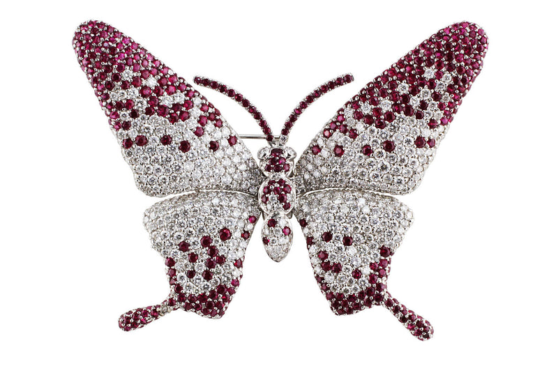Diamond Ruby Butterfly Pin