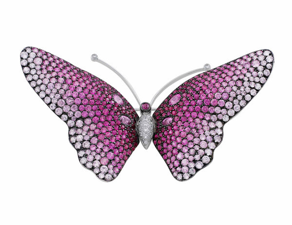 Pink Sapphire Butterfly Pin