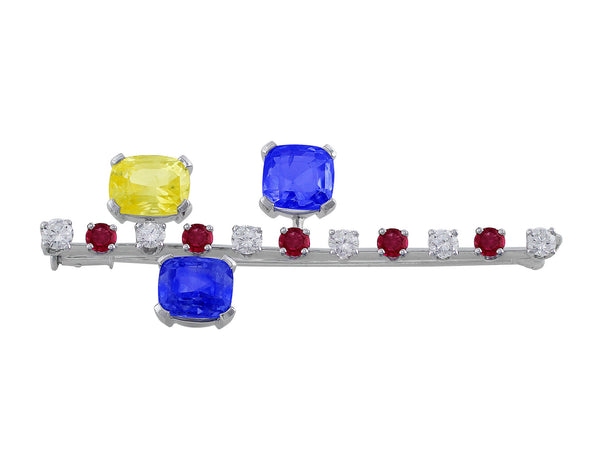 18kt White Gold Ruby Diamond Sapphire Pin
