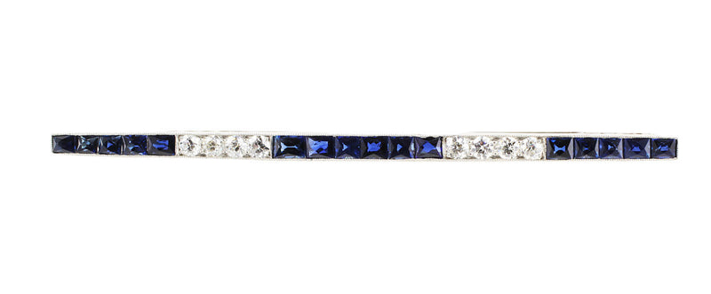 Estate 1920's Diamond Sapphire Bar Pin with 16 french cut sapphires