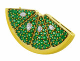 18kt Yellow Gold Diamond Lime Pin