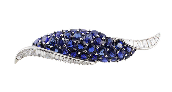 Estate Oscar Heyman Sapphire Diamond Scroll Brooch