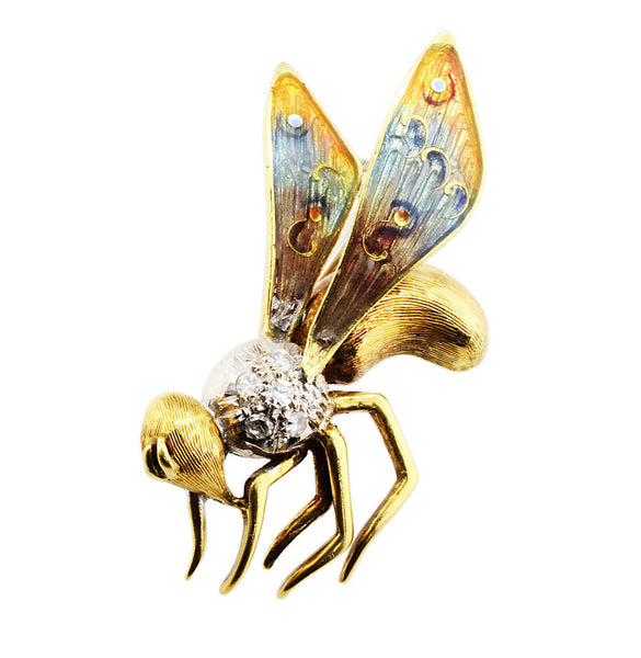 Estate Enamel Diamond Wasp Brooch