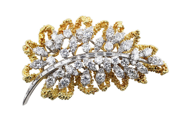 Estate Diamond Leaf Brooch