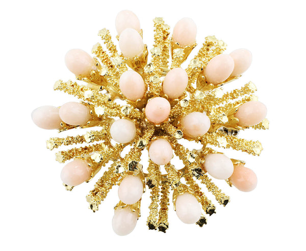 Estate Angel Skin Coral Brooch