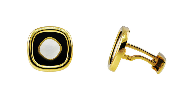 Yellow Gold Square Onyx Mother of Pearl Cufflinks