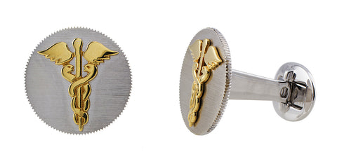 Gold Caduceus Cufflinks