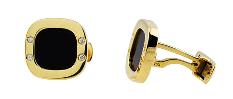 Onyx Diamond Yellow Gold Cufflinks