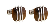White Gold Tiger Eye Cufflinks