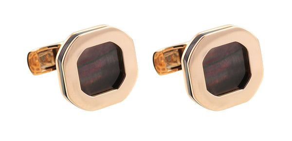 Rose Gold Black Agate Cufflinks
