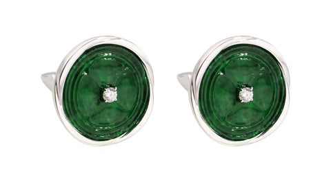 Diamond Jadeite Cufflinks