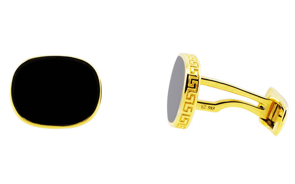 Onyx Greek Key Border Cufflinks