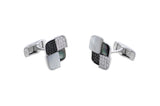 18kt White Gold Diamond & Mother of Pearl Cuff Links