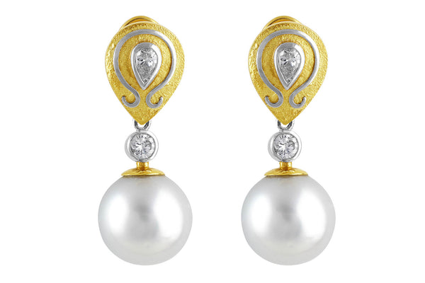 South Sea Pearl Earrings with Art Setting