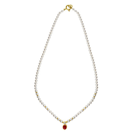 Estate Pearl and Ruby Cabochon Necklace