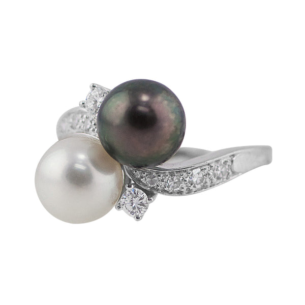 Estate White and Tahitian Black Pearl Diamond Ring