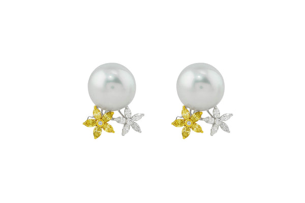 Pearl and Yellow Diamond Earrings