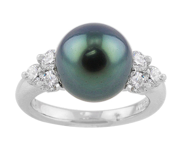 Tahitian Peacock Pearl Platinum Diamond Ring