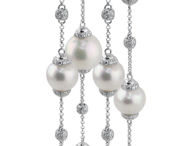 White Gold Pearl Diamond Necklace