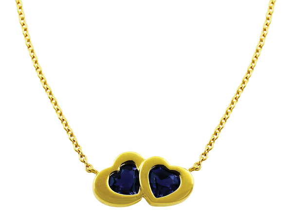 Estate Carrera Y Carrera Iolite 2 Hearts Pendant Necklace