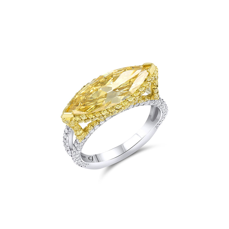 2ct Fancy Intense Yellow Marquise Diamond Ring, GIA Certified