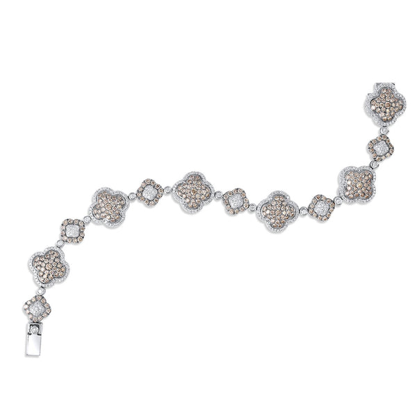 18k White Gold Brown And White Diamond Bracelet