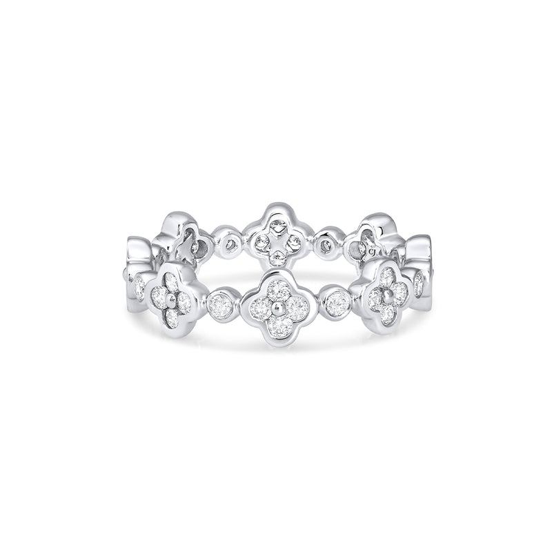 18KT WHITE GOLD FLOWER DIAMOND ETERNITY BAND