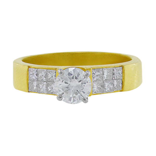 Estate Yellow Gold Princess Cut Diamond Ring