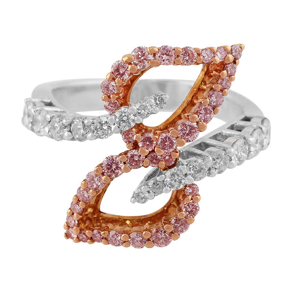 Interwoven Pink and White Diamond Ring