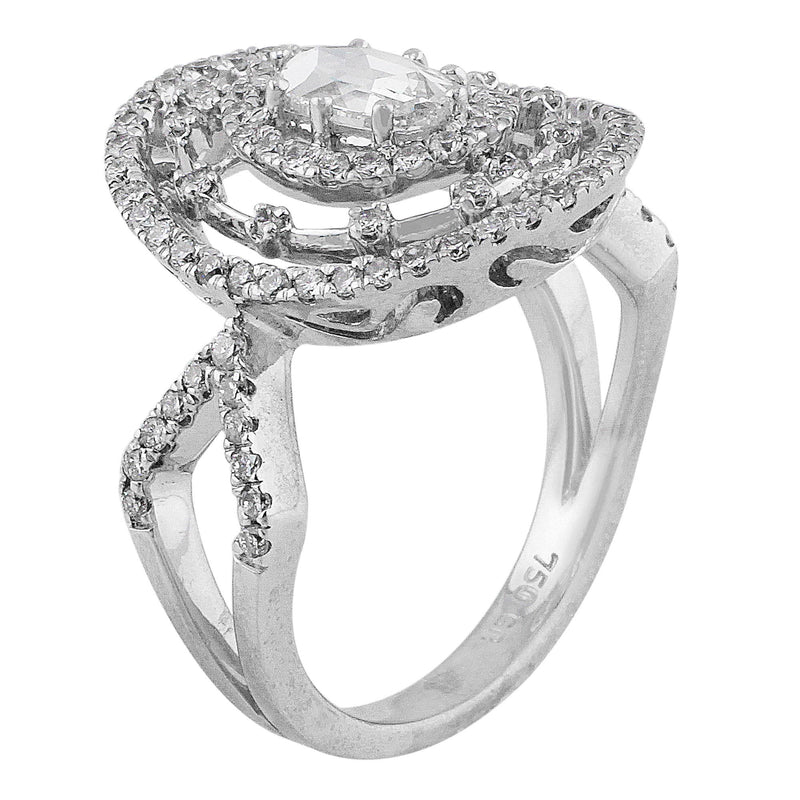 Estate Split Shank Oval Diamond Ring