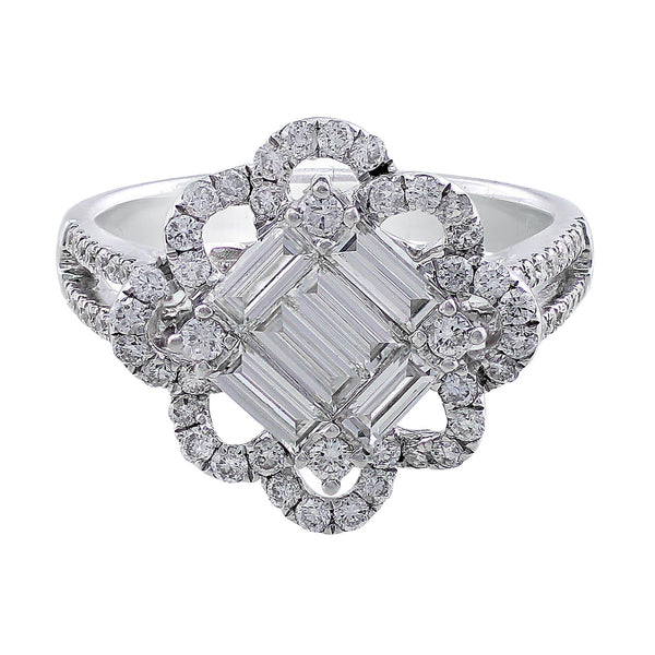 Square Center Floral Loop Bezel Diamond Ring