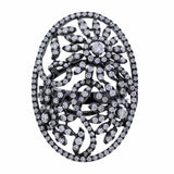 Black Rhodium Floral Scroll Ring